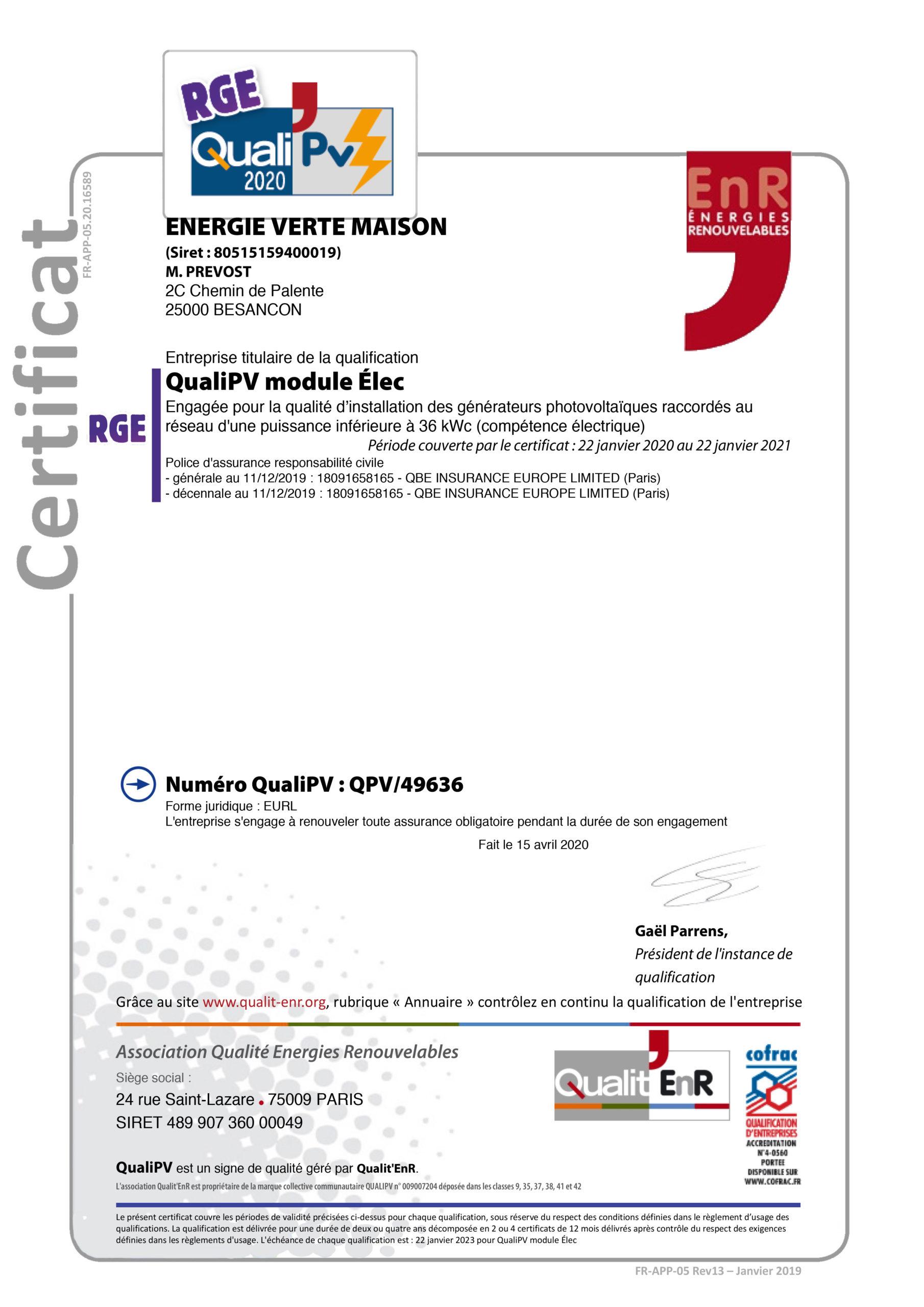 certification quali pv