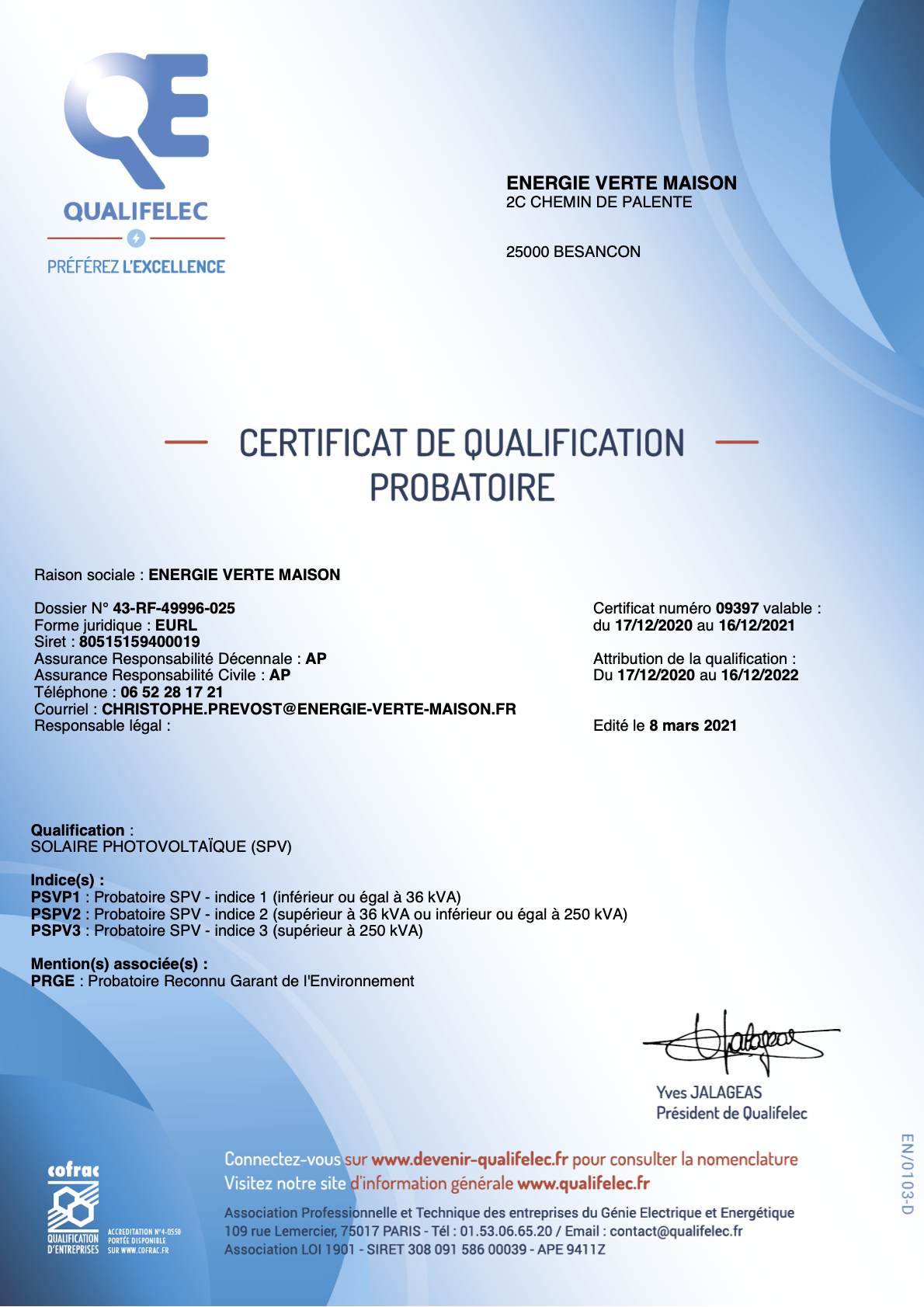 certification qualif elec 2021
